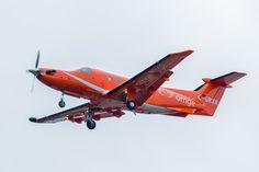 C-GRXR Pilatus PC-12 ORNGE ambulance coming to land at Moosonee. Higher saturation