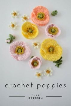 crochet flower patterns FREE crochet Iceland poppy pattern - make a bunch of realistic crochet poppies for a Mother's Day bouquet or a Spring flower crownStudio Bees and Appletrees: Gorgeous crochet Poppies - Prachtige gehaakte klap.Poppies are defin Crochet Puff Flower, Crochet Flower Tutorial, Crochet Flower Patterns, Flower Applique, Crochet Motif, Crochet Flowers, Crochet Stars, Crochet Designs, Crochet Poppy Free Pattern