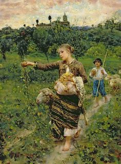 Shepherdess Carrying a Bunch of Grapes by Francesco Paolo Michetti {1851-1929} ~ oil on canvas