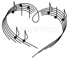 Stock vector of 'Music of love. The heart of the music camp with notes. Tattoo Noten, Tattoo Painting, Stylo 3d, Music Heart, Music Tattoos, Tatoos, Digi Stamps, Music Notes, Music Music