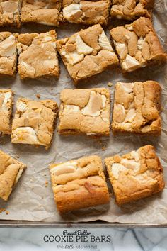 Peanut Butter Cookie Pie Bars from @TheLittleKitchn