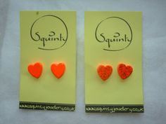 Wee Wooden Earrings - Stud - Post Earrings - Wooden Hearts - Neon Orange - £4.  Available from SquintyStuff on #Etsy #handemadept #GlasgowEtsy