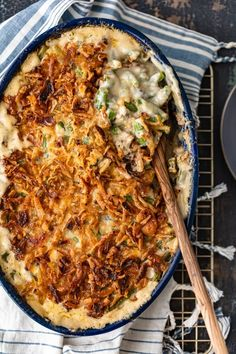 Classic Green Bean Casserole is one of those Thanksgiving recipes that you don't need to reinvent. It's absolutely perfect just the way it is, with green beans, cream of mushroom, crunchy fried onions, and Homemade Green Bean Casserole, Classic Green Bean Casserole, Healthy Casserole Recipes, Healthy Recipes, Vegetarian Casserole, Recipe Without Milk, French Fried Onions, French Onion, Greenbean Casserole Recipe