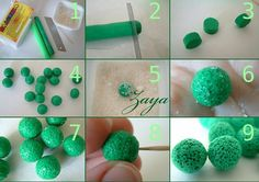 roll fimo clay in salt then wash it away