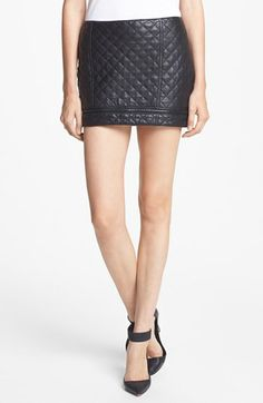 quilted leather miniskirt / haute hippie