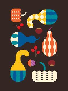 Autumn Gourds by Christopher Dina, via Behance #illustrazione #colori #pattern
