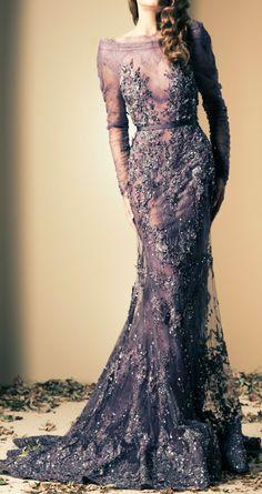 Ziad Nakad   Victorian lilac   sheer   long sleeves   straight neckline   embellishment   sweep train