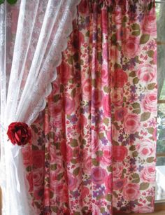red and pink shabby rose curtains