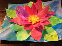 water lily pop-up painting- good for Monet spring lesson.  I'm wondering if I could turn this into a pointsetta!