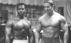 A young Arnold and Serge Nubret.