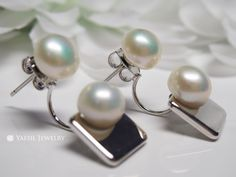 New Fashion Double Pearl Earrings, Square Disc Earrings, Sterling Silver Post, Bridal Earrings, by YaesilJewelry on Etsy Double Pearl Earrings, Square Earrings, Bridal Earrings, New Fashion, Sterling Silver, Trending Outfits, Unique Jewelry, Handmade Gifts, Vintage