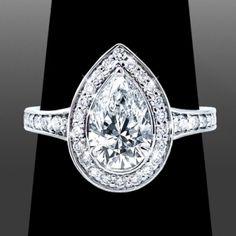 www.VanessaNicoleJewels.com - 1ct Pear Cut Diamond - Custom Engagement Rings by Vanessa Nicole Jewels
