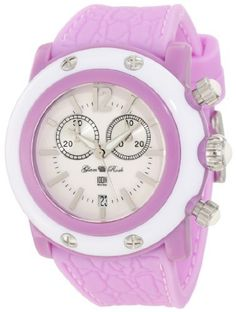Glam Rock Women's GD1109 Miami Beach Chronograph White Dial Lilac Silicone Watch Glam Rock. $130.35. Swiss quartz movement. White dial with silver tone hands, hour markers and arabic numeral 12; luminous; stainless steel crown and pushers with white cabochon. Water-resistant to 100 M (330 feet). Mineral crystal sapphire coated; lilac resin case; white case cover with 4 stainless steel screws; lilac silicone strap with alligator pattern and white stitching. Chronograph functions w...