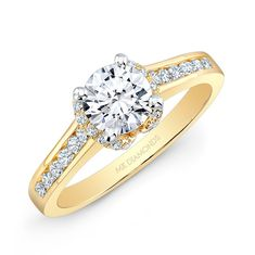 14k Yellow Gold Channel Set Diamond Shank Split Diamond Halo Engagement Ring | Joe's Jewelry