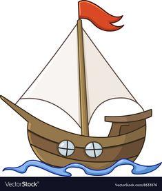 Sailboat cartoon vector image on VectorStock Boat Cartoon, Cartoon Pics, Cartoon Download, Simple Doodles, Sailboats, Easy Drawings, Adobe Illustrator, Art Projects, Vector Free