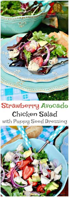 Delicious strawberry avocado chicken salad with a simple sugar free poppyseed dressing is filling enough to to serve as the main meal! #Ad #Lenox