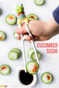 """Cucumber sushi is a healthy, fun and delicious snack for kids. It is quick to prepare and easy to customise to suit taste. My boys call cucumber sushi """"pretend sushi"""" and I guess that is Sushi For Kids, Healthy Meals For Kids, Healthy Snacks For Kids, Healthy Cooking, Kids Meals, Kid Sushi, Healthy Lunchbox Ideas, Lunch Ideas, Kids Lunchbox Ideas"""