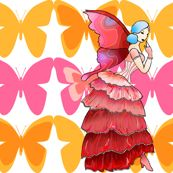 Tropical hibiscus fairy with butterflies by beesocks, Spoonflower digitally printed fabric