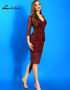 >> Click to Buy << Deep V-neck Burgundy Mother of the Bride Dresses Knee Length Lace Wedding Guest Dress with Sleeve vestidos madre de la novia #Affiliate