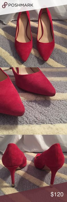 Tory Burch Suede Red Pointy toe pumps Tory Burch Red Heels. They are leather and the outside is suede. In good condition besides the two little scuffs on the front.                                   NO TRADES, no low ball offers. Tory Burch Shoes Heels