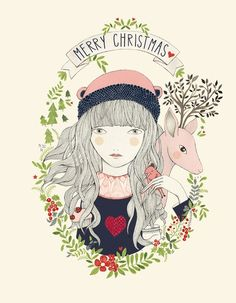 It's all about Hearts ♡ Illustration Girl, Character Illustration, Drawing S, Art Drawings, Arte Sketchbook, Jolie Photo, Christmas Illustration, Bunt, Watercolor Art