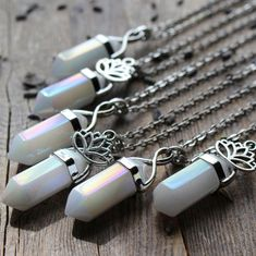 angel aura quartz crystal necklace