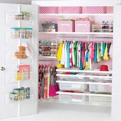 White elfa décor Girl's Reach-In Closet   The Container Store