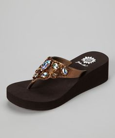 9f9a2e6fd9693b Take a look at this Bronze Amabel Wedge Sandal - Women by Yellow Box Shoes  on