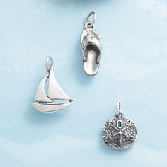 Sailboat, Flipflop, and Sand Dollar Charms #jamesavery #charms