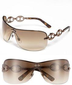 82a727b23b Gucci Rimless Shield Sunglasses with Chain Detail Gucci Sunglasses