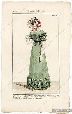 Le Journal des Dames et des Modes 1820 Costume Parisien N°1928