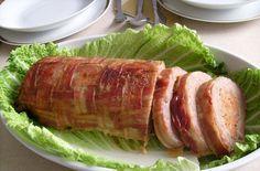 Baconban sült töltött fasírt-recept Bacon, Meat Recipes, Food Pictures, Tuna, Main Dishes, Pork, Beef, Fish, Dinner