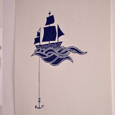 Anchored Ship Linocut Block Print  Navy Blue by sappling on Etsy, $8.99