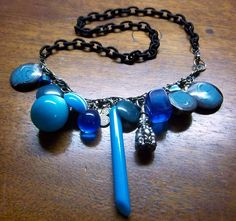 Vintage Lucite Baubles Necklace in Electric Blue OOAK Vegan $22.00