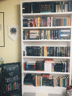 """hardbackhoarder: """"January 11: Bookshelf. Here's an updated picture of one of my bookshelves. It needs reorganized badly. """""""