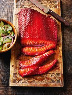 Beetroot-cured Salmon with Cucumber & Apple Pickle - The Happy Foodie