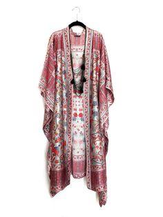 Maxi length kimono jacket / beach cover up / kaftan in pink