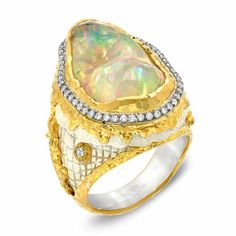Ring with a 10.38ct Mexican clear fire opal, diamonds, in antique white Patina, set in 24k gold and silver by| Victor Velyan