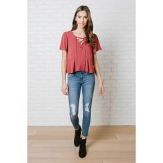 """A cute and casual style to add to your off-duty wardrobe, this sweet blouse is crafted with a red-hued, gauzy fabric in a loose-fitting, breezy silhouette. It is designed with a subtle diamond pattern throughout, and features a lace-up neckline and flowy, short sleeves for a bohemian-inspired touch. Wear this free-spirited style with our Distressed Cutoff Skinny Jeans and Amelia Suede Booties on your next shopping excursion.*100% Rayon*Hand wash coldMeasurements For Small36"""" bust21"""" from…"""