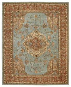 "Heritage Hall HE16 7'9"" x 9'9"" Aqua Rug - traditional - rugs - PlushRugs Foyer"