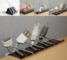 Use binder clips to keep all your cords neat. | 31 Easy Hacks To Make Your Workday Better