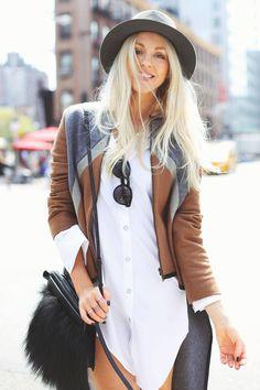 Hat. Button down shirt. Bag. Sunnies.