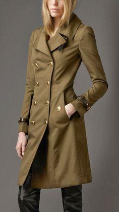 Burberry Khaki Green Leather Trench Coat