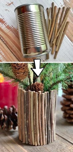 Cheap & Easy Upcycling Christmas Craft: DIY Rustic Vase made out of a tin can! Looking for upcycling There are so many ways to dress up a tin can! This cheap and easy project is great for kids and adults! Simply use sticks and hot glue to cover a tin can. Tin Can Crafts, Crafts To Make, Easy Crafts, Crafts For Kids, Decor Crafts, Crafts Cheap, Rustic Crafts, Kids Diy, Craft Ideas For Adults