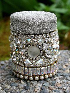 Jeweled Bottle Rhinestones Vintage Glass Small by ASoulfulJourney