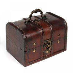 [Visit to Buy] Vintage Jewelry Storage Box Metal Lock Wooden Organizer Case Wood Boxes Antique Retro Jewellery Candy Container Cases Wooden Jewelry Boxes, Jewellery Boxes, Jewellery Storage, Jewelry Organization, Wooden Boxes, Storage Organization, Makeup Storage, Pirate Jewelry, Bracelet Gift Box
