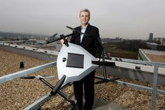 #Robodrone co-founder Martin Kaftan posing on the roof of the South Moravian Innovation Centre with UAV #Kingfisher.