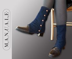 Gamaschen - dunkelblaue Gamaschen aus Jeansstoff - ein Designerstück von manuale-berlin bei DaWanda