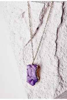 Semi-Precious Stone Pendant Necklace Purple