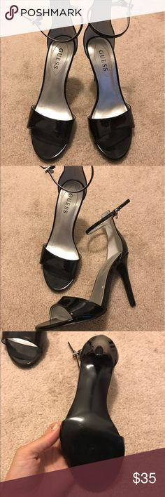 """👠👠BRAND NEW GUESS HEELS Never worn since they're too tall and I almost feel over! Seriously! Not a scuff on the sole. With a 4"""" height, tower over everyone in these show stoppers with an adorable accent charm. Hurry and grab them up! I can ship TODAY! Guess Shoes Heels"""